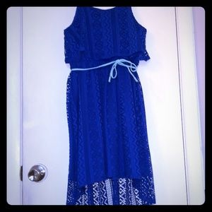 Emily West blue lace high low girls dress